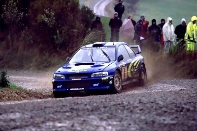 Subaru Impreza WRC98 in action in the 1998 Monte Carlo Rally and Rally Corsica driven by Colin McRae and Piero Liatti.