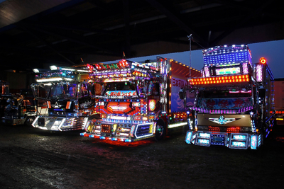 """Dekotora, or Decotora, simply means """"Decoration Truck."""" These trucks are often used for work and decorated by enthusiastic employees. However, due to driving restrictions and such, many of the finer and more extreme examples must be created exclusively for show."""