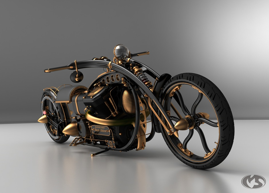 Amazing custom Steampunk 'Chopper' Motorcycle, by Solifague Design