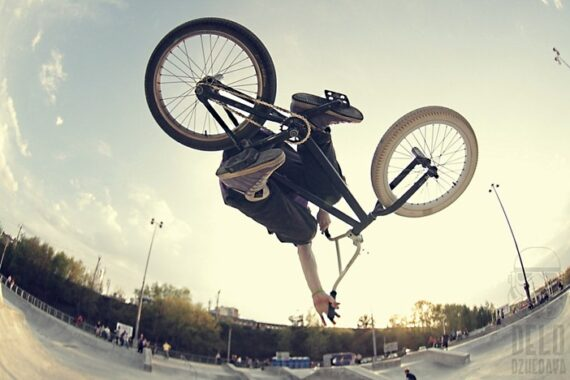Big Bad BMX Air Trick Flipping Upside Down at Dusk