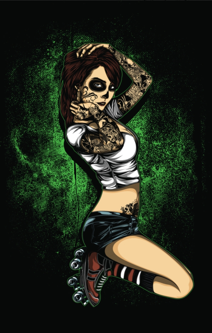 roller derby babe green